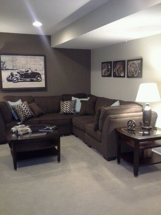 Basement renovation brown couch basements and couch for Paint ideas for basement family room