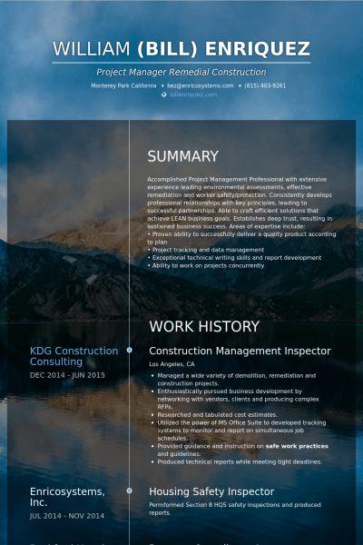 Inspector Resume samples - VisualCV resume samples database