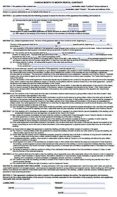 Free Kansas Month to Month Rental Agreement – PDF – Word