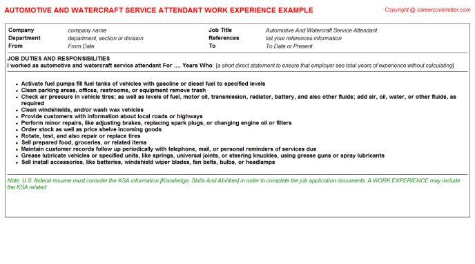 Automotive And Watercraft Service Attendant CV Work Experience