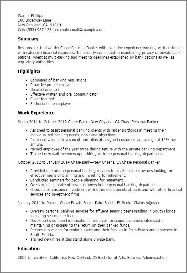 Personal Banker Resume     amplifiermountain.org