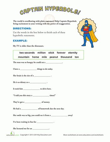 Examples of Hyperbole | Worksheets, Figurative language and Language