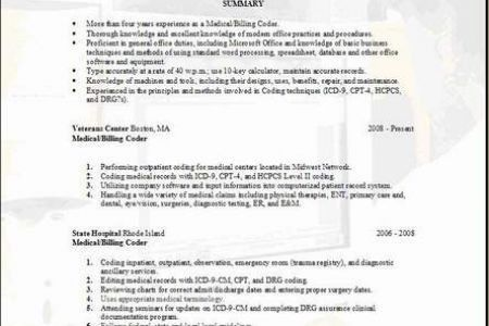 medical billing resume medical billing. medical coder resume ...