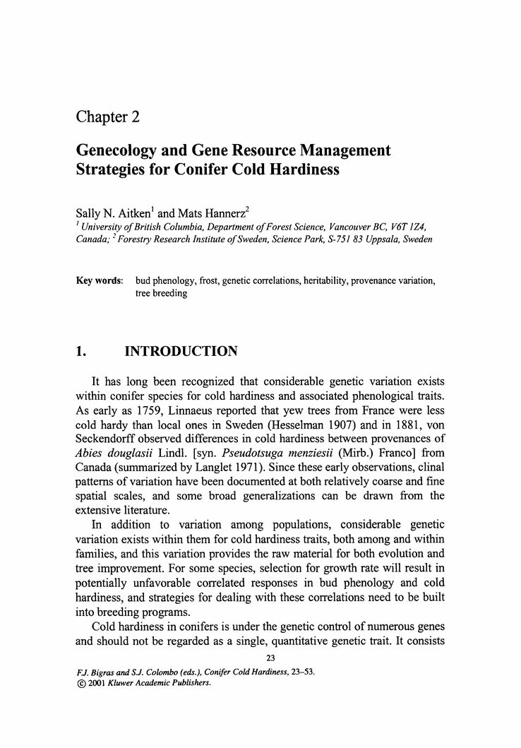 Genecology and Gene Resource Management Strategies for Conifer ...