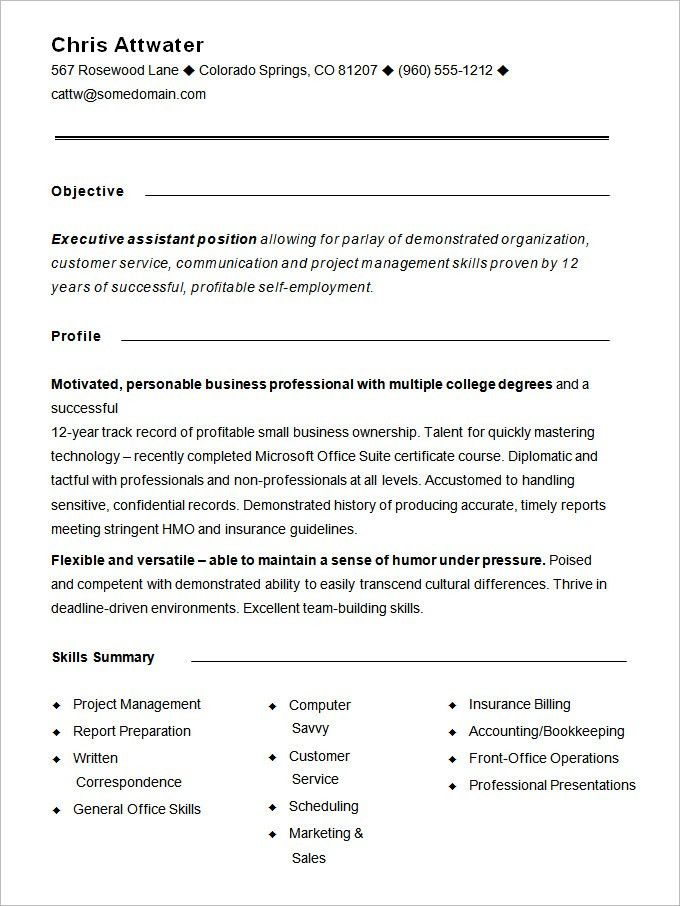 Functional Resume Formats. Examples Formatting Of The Name Of This ...