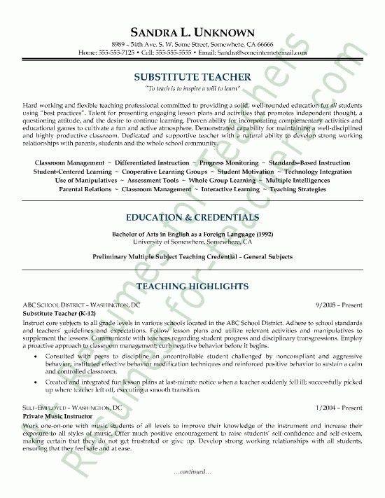 Examples Of Teacher Resumes. 7 Cover Letters For Teachers Best 25+ ...