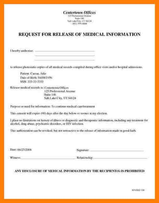 4+ general medical records release form sample | artist resumes