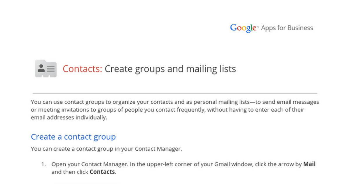 Contacts: Create groups and mailing lists - Google Docs