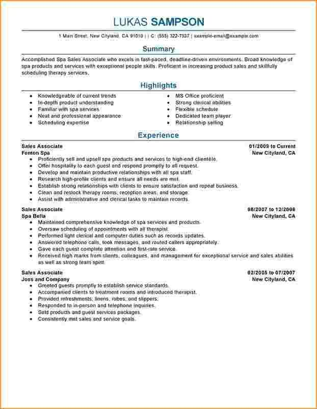 8+ sales associate resume | Questionnaire Template