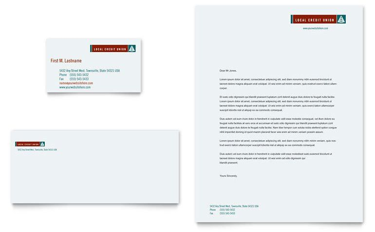 Credit Union & Bank Business Card & Letterhead Template - Word ...