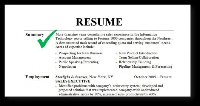 Summary For Resume #14574