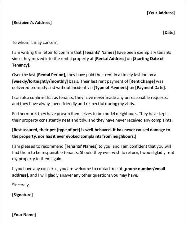9+ Rental Reference Letter Template - Free Word, PDF Format ...