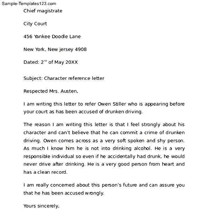 Character Reference Letter Format. Sample Personal Character ...