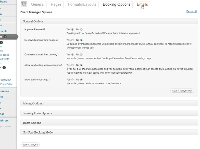 Events Manager for WordPress » Blog Archive Booking Options ...
