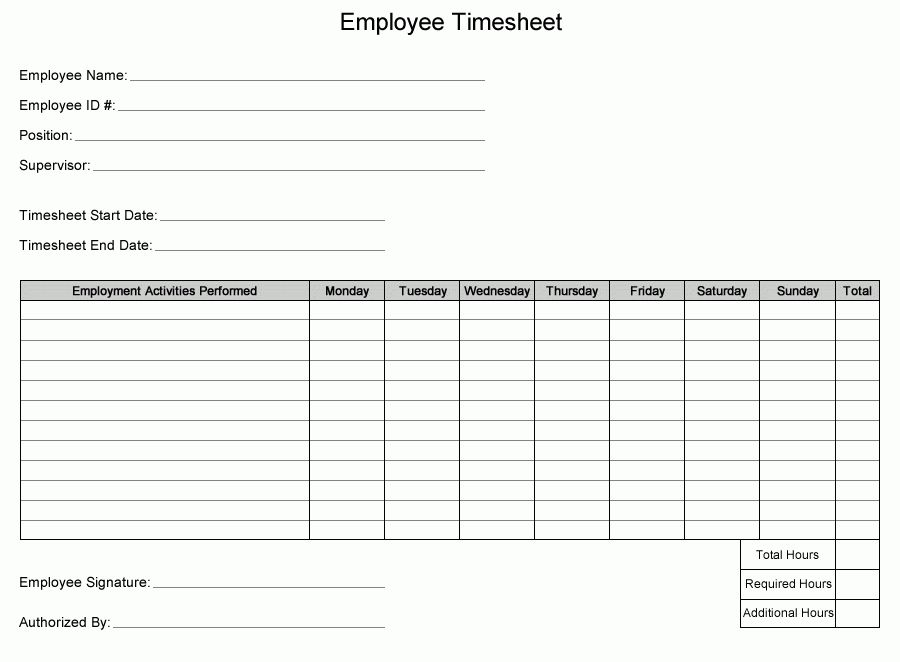 Printable PDF Timesheets For Employees | Printable Weekly Employee ...