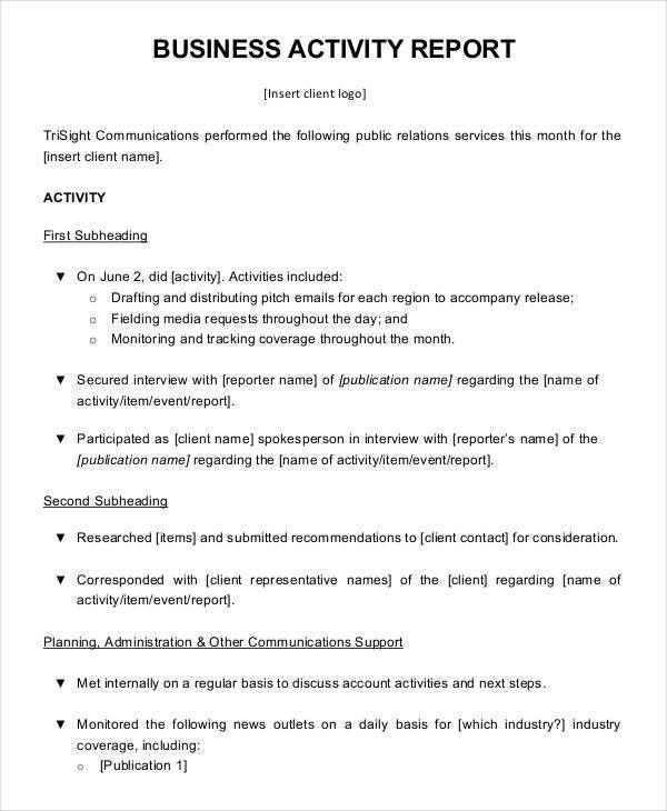 Business Activity Report Templates - 7+ Free PDF Format Download ...
