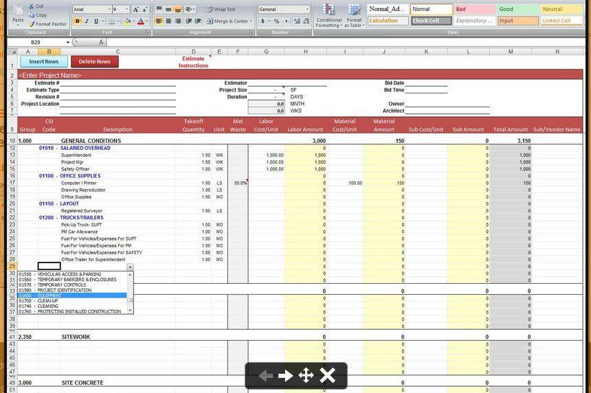 Construction Estimate Spreadsheet