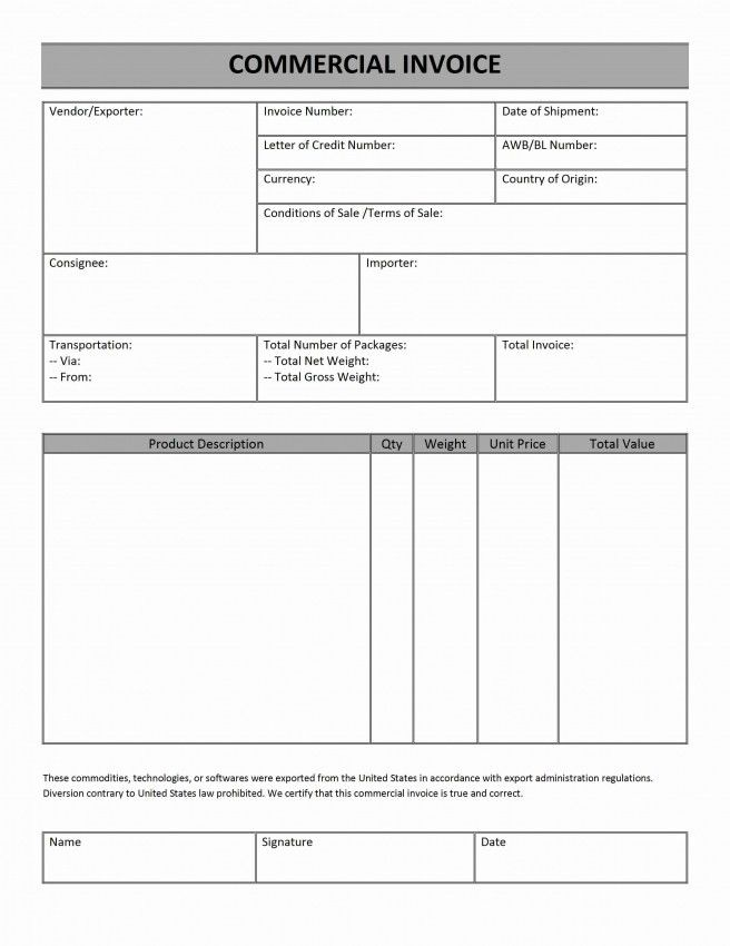Commercial Invoice Template Yrc | Design Invoice Template