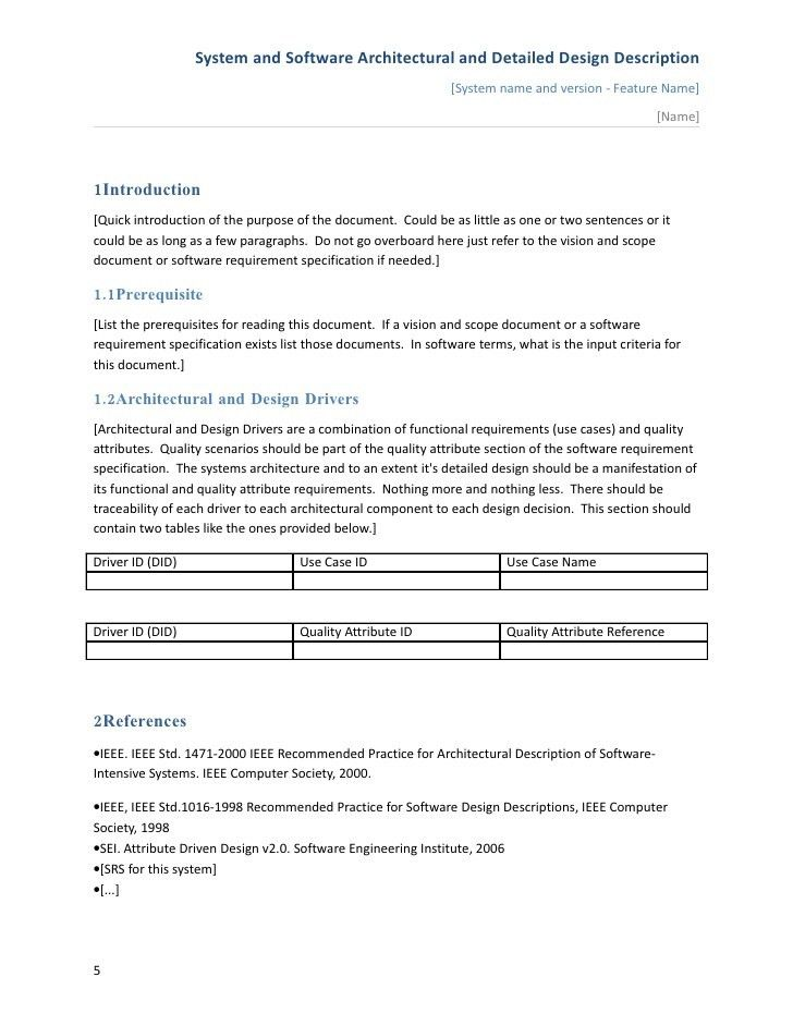 Software Architectural And Detailed Design Description Template