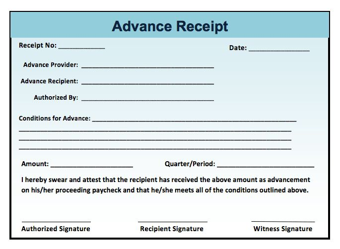 Advance Receipt Example | Microsoft Word Templates