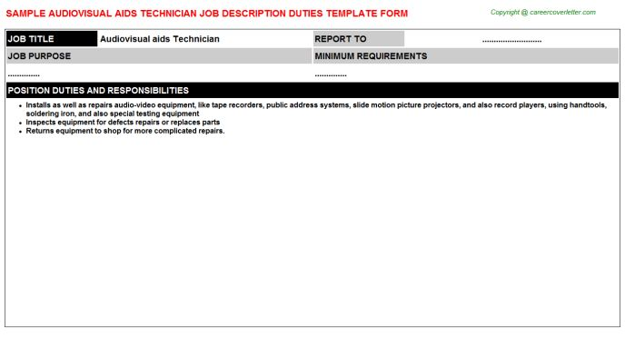 Audiovisual Aids Technician Job Description