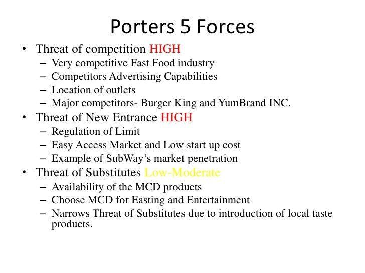 Porters 5 Forces & MC Donalds