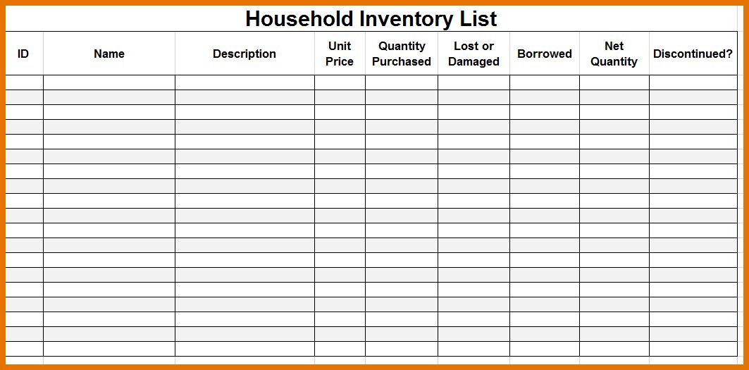 7+ moving inventory list | Itinerary Template Sample