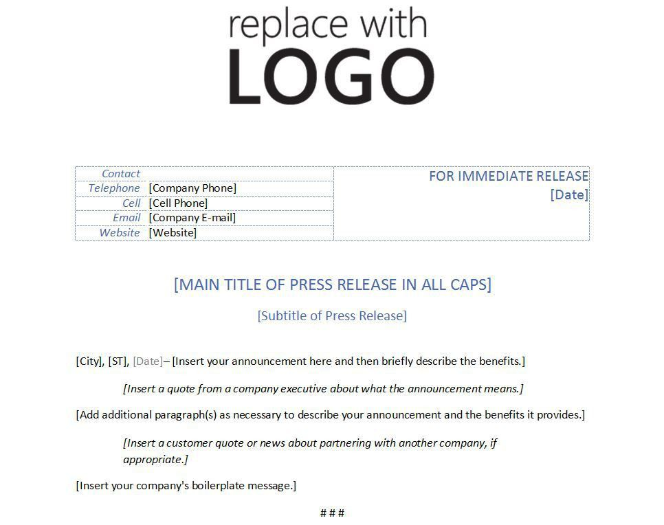 Template for Press Release | Template Press Release