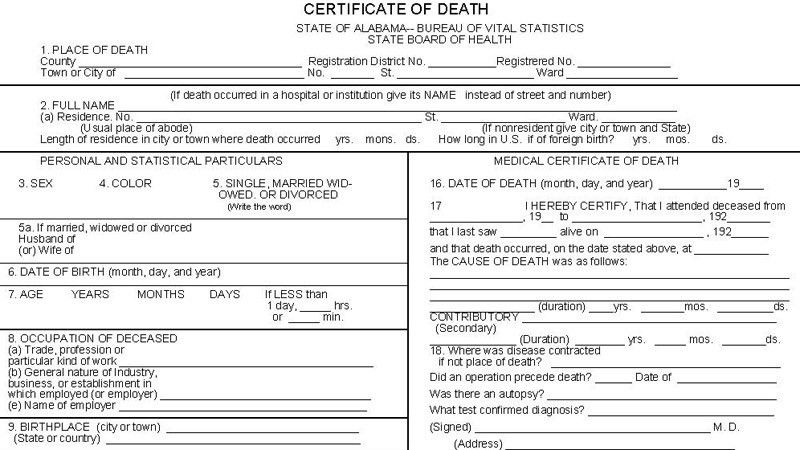 Death certificates aid in genealogical research | Our Prattville ...