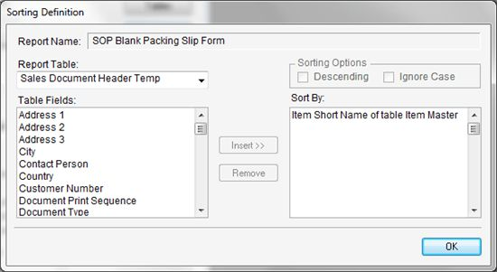 I am trying to sort items on the SOP Packing Slip form by Item ...