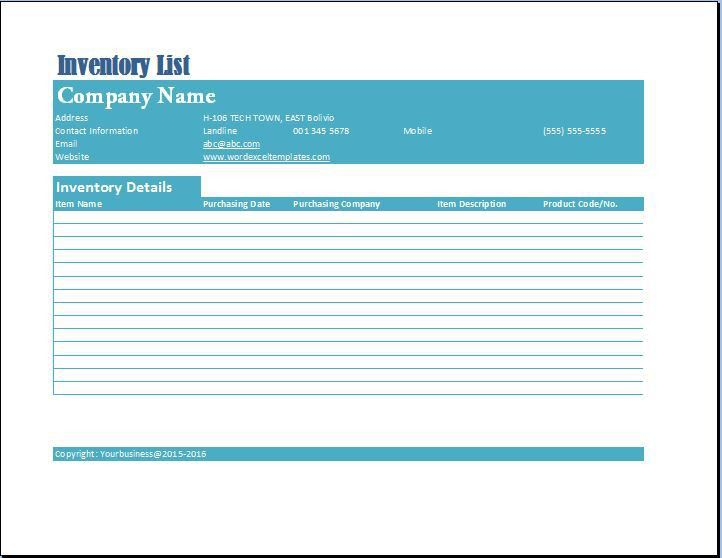 Formal Business Inventory List Template | Word & Excel Templates