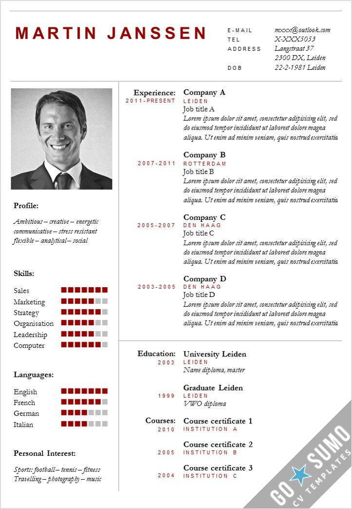 Business cv template + matching cover letter template. Fully ...