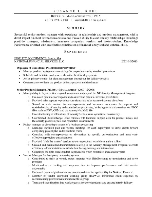 sample product manager resumes