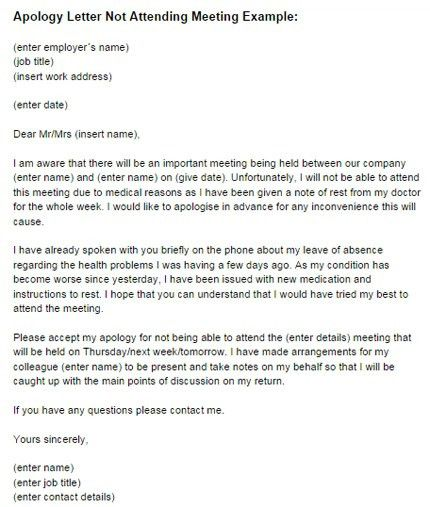 Letter Of Apology To Boss Formal Apology Letter For Not Attending ...
