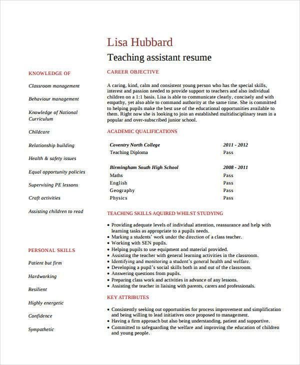 Teacher Assistant Resume - 9+ Free PDF Document Download | Free ...