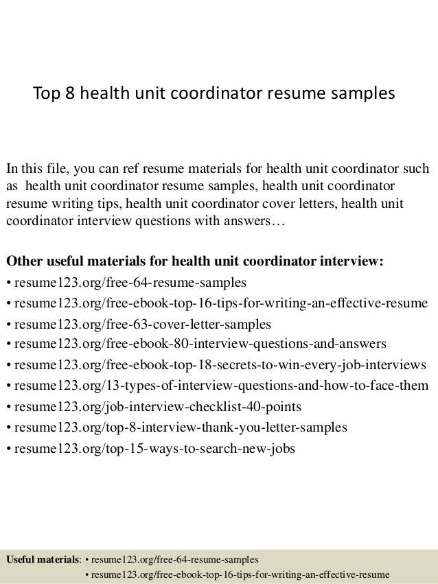 Excellent Health Unit Coordinator Resume 21 On Resume For Customer ...