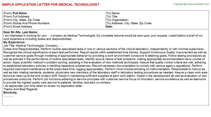 Medical Technologist Application Letters