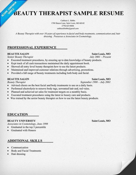 Beauty Therapist Resume Sample Beauty Therapist Cover Letter Top