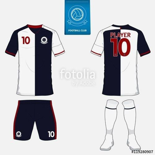 Set of Football kit or soccer jersey template for soccer club ...