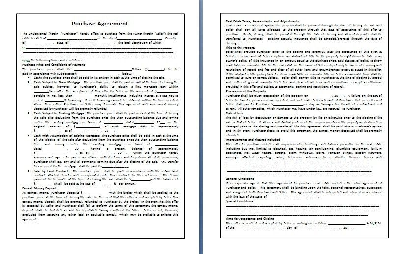 Purchase Agreement Template | Nice Word Templates