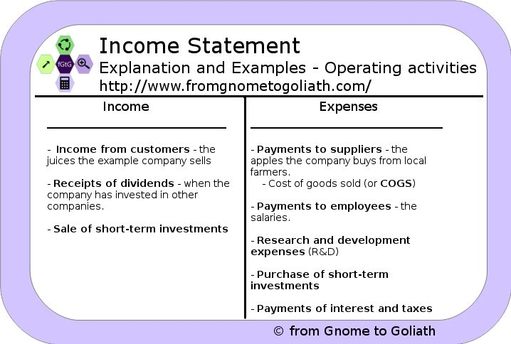 Income Statement - Explanation and Examples - from Gnome to Goliath