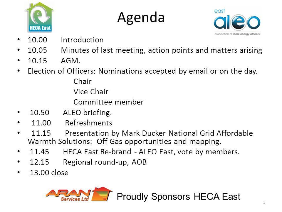 Agenda Introduction Minutes of last meeting, action points and ...