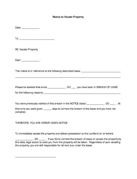 Printable Sample Notice To Vacate Template Form | Real Estate ...