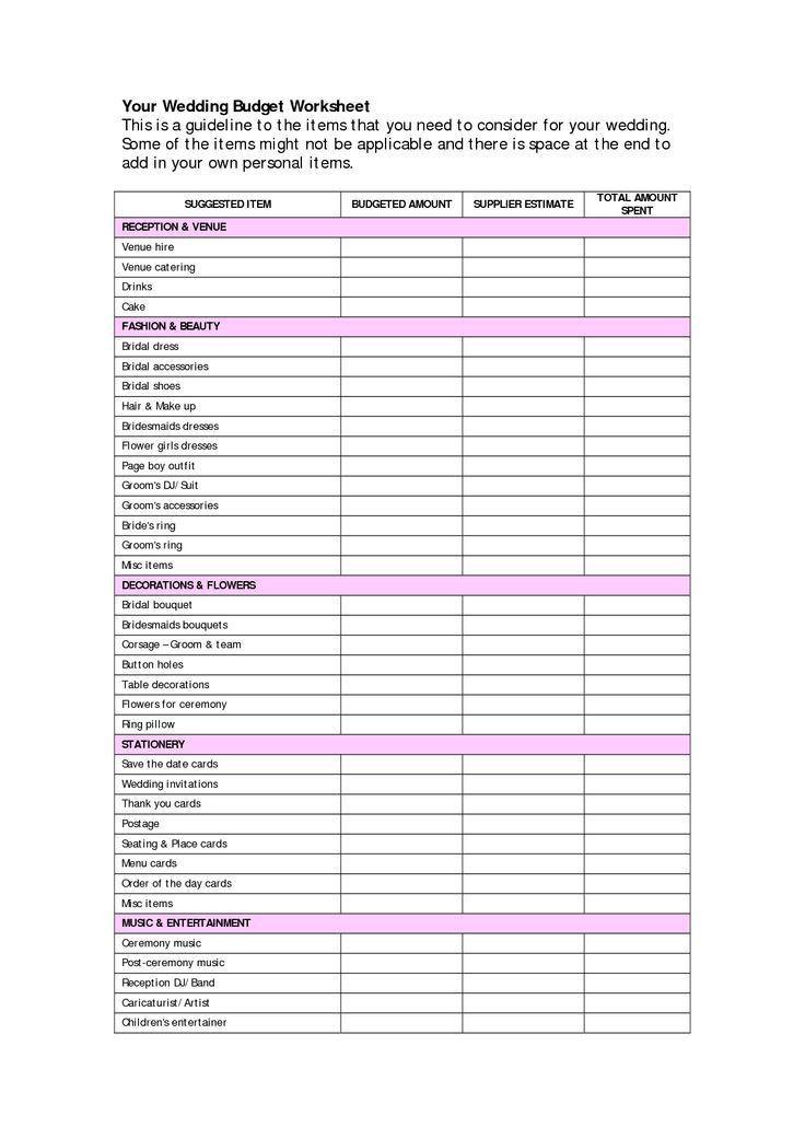 Best 10+ Wedding budget worksheet ideas on Pinterest | Wedding ...
