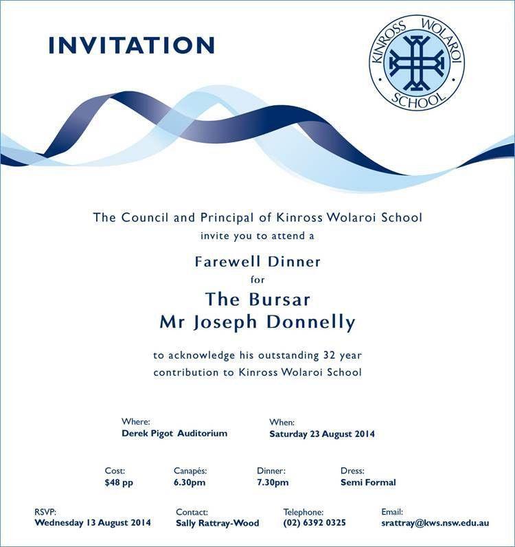 Farewell Dinner Invitation | cimvitation