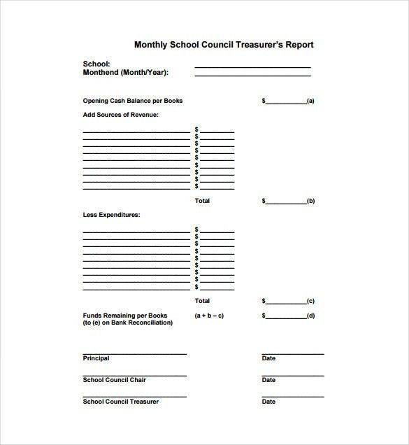 Treasurer Report Template - 10+ Free Sample, Example, Format ...