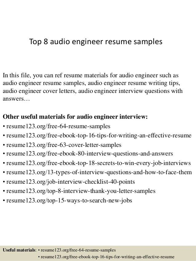 Audio Recording Engineer Sample Resume | haadyaooverbayresort.com