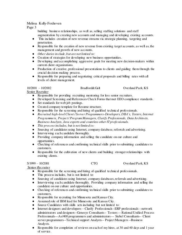 Resume of Melissa Kelly-Foxhoven Corporate Recruiter