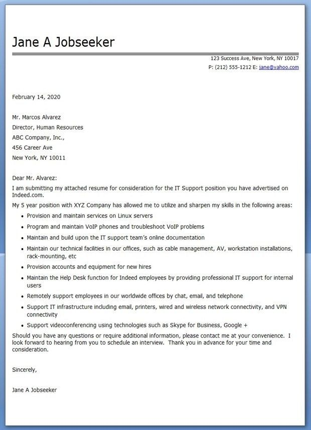Professional Resume Cover Letter Samples - Resume Templates