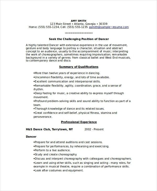 nice dance audition resume images resume example 29 actor